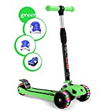 Kid Kick Scooter 3 Wheels Childern Toy Folding/LED Light Flicker 5cm Wide PU Flashing Big Wheels/Pedal with Stainless Steel 80KG+/4 Adjustable Height T-Bar/Gravity Sensor Steering/Over 4 Year Old Gift