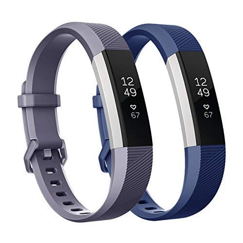 (Fundro Replacement Bands Compatible with Fitbit Alta Bands/Alta HR, Newest Sport Strap Wristband with Secure Buckle for Women Men Boys Girls, 2- Pack(Navy Blue+Gray,Small) )