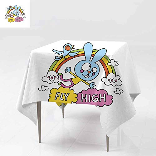 Fbdace Spillproof Tablecloth,Fly high Cute Bunny Character Motivational Design Party Decorations Table Cover Cloth 50x50 Inch -