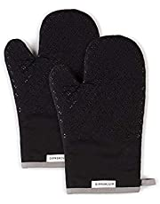 KitchenAid Asteroid Cotton Oven Mitts with Silicone Grip, Set of 2, Black