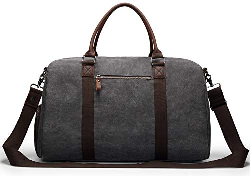 2e73322937bb Weekender Overnight bag Canvas Travel Duffel Bag with shoes compartment for  men and women Unisex Oversized