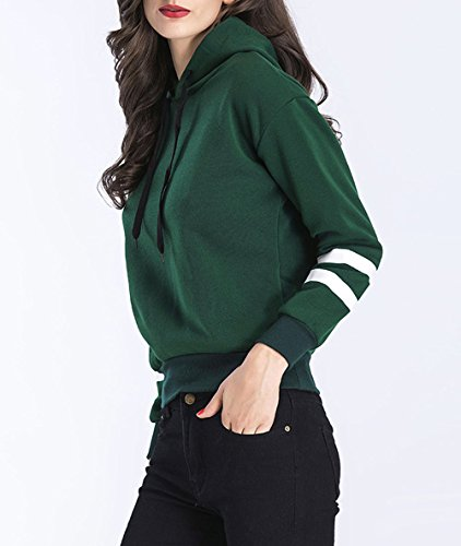 Rayas Camisa Entrenamiento Otoño Chaqueta Camisetas Freestyle Varsity De Pulóver Mujer Encapuchado Sudaderas Larga Verde Jerséis Manga Capucha Con Tops HnfZ6n