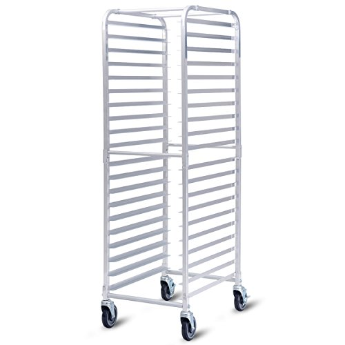 26' Bun Pans - Giantex 20-Tier Kitchen Bun Pan Sheet Rack Aluminum Bakery Rack Home Commercial Kitchen Bakery Cooling Rack w/Wheels 2 Lockable & Open Shelf