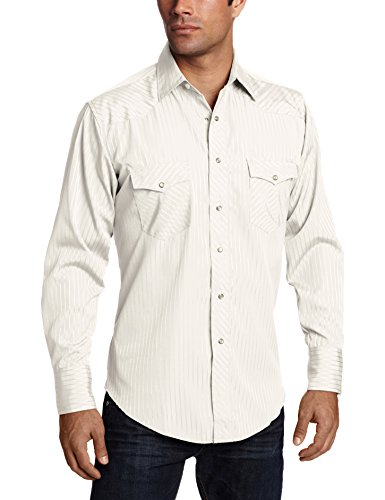 Beige Stripes Snap (Wrangler Men's Sport Western Snap Shirt Dobby Stripe, Light Tan, X-Large)