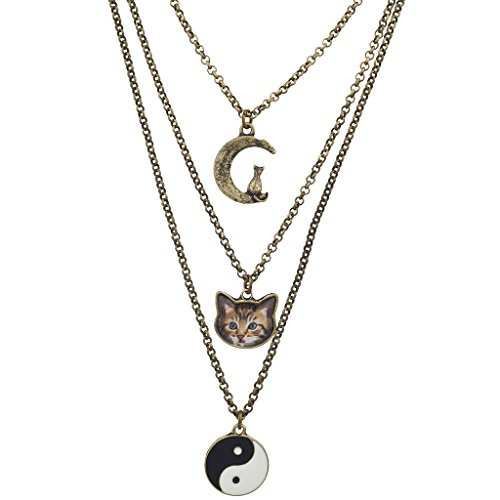 Lux Accessories Galaxy Moon Cat Kitten Ying Yang Layered Charm Necklace