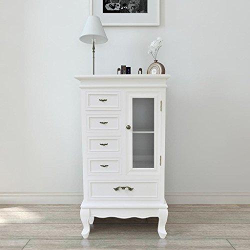 Cupboard Pine Wall (5-Shelf 2-Drawer Floor Cabinet/Cupboard, Pine Wood, Bathroom Kitchen Storage, White)