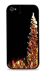 Colorful Christmas Tree Sparkle Pattern Black Silicone Case for iPhone 5C