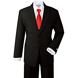 Spring Notion Boys' Formal Dress Suit Set 8 Black Suit True Red Tie