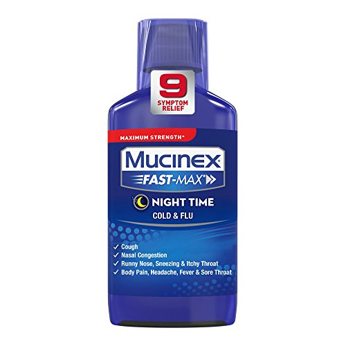 - Mucinex Fast-Max Night Time Cold & Flu Liquid, 6oz
