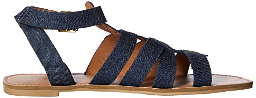 Blue Sandal Denim Flat Women's Caged Qupid twOIUq