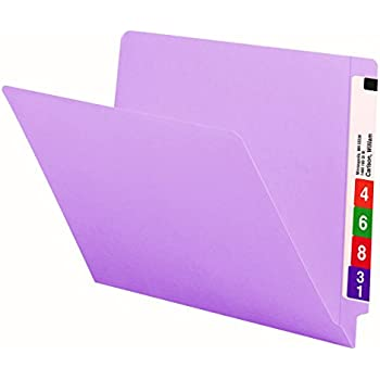 Smead Colored End Tab File Folder, Shelf-Master Reinforced Straight-Cut Tab, Letter Size, Lavender, 100 per Box (25410)