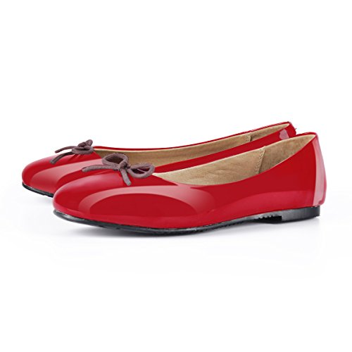 Ballet Red Cute Accent Slip Knot On Dress Round Toe Onlymaker Sweet Comfortable Flats Bow Vintage AUWwqT7
