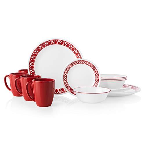 Corelle 16-Piece Dinnerware Set Service for 4, Chip Resistant, Glass, Venetian Evening, Vitrelle