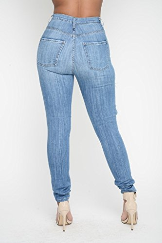 Jeans Skinny Zip Taille Haute Bleu avec Trous Oudan Jeans Hipster Jeans Pantalons Jeans Jean Jean d't Skinny p7A0OPAYW