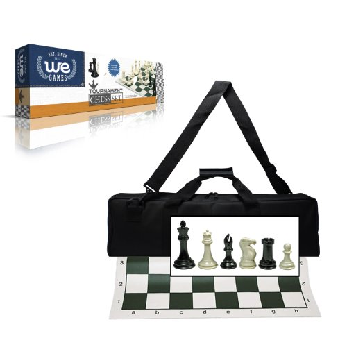 Tournament Staunton Chessmen Set - Wood Expressions Deluxe Tournament Chess Set with Canvas Bag and Triple Weighted Chessmen