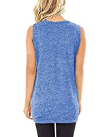 Yidarton Women Tank Tops Solid Twist Knot Tunics Tops(Z#006 Light Blue,l)