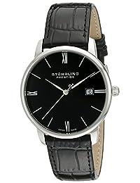 Stuhrling Original Men's 307L.33151 Prestige Swiss Made Kingston Quartz Date Ultra Slim Black Watch