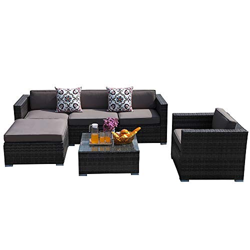 PATIORAMA Outdoor Furniture,6 Piece Patio Sectional Sofa Set with Dark Grey PE Wicker Furniture,Light Brown Cushions,Plus 2 Pillows