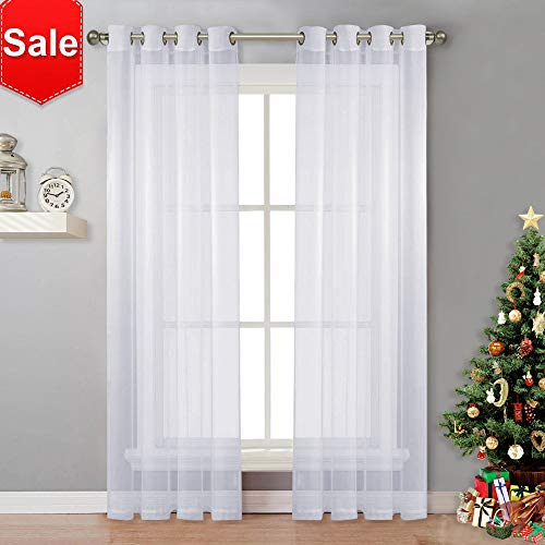 NICETOWN Sheer Curtain Panels Bedroom - Home Decoration Solid Voile Panels with Ring Top (2-Pack, 54 Wide x 84 inch Long, ()