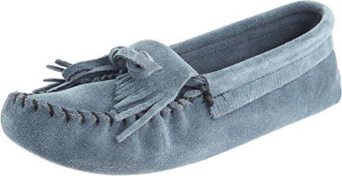 Minnetonka Women's Kilty Suede Softsole Moccasin,Storm Blue,8.5 M US