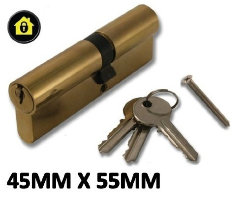 High Security, Anti Drill Euro Cylinder Locks Door Barrel - Chrome - UPVC, Aluminium, Composite, Patio (Brass, 45x55)