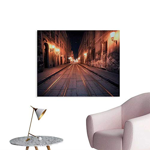 Tudouhoho Urban Funny Poster Old European City at Night Deserted Streets Ancient Architecture Buildings Home Decor Wall Yellow Coral Black W36 xL32]()