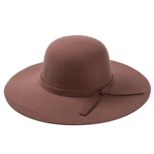 Goyestore Women Soft Wool Wide Brim Cloche Fedora Floppy hat Cap retro goth bowknot band (Light Coffee)