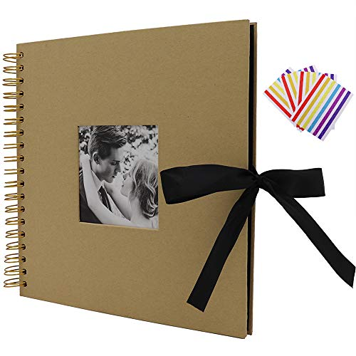 (WCR Scrapbook Album, DIY Photo Album with Photo-Openning 60 Black Pages and Stickers, Memory Book Guest Book for Family Wedding Anniversary Christmas Valentines Day Gifts (Kraft Brown, 10 x 10 Inch))