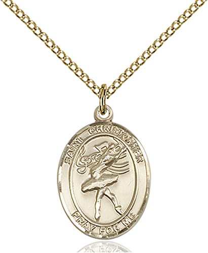 Dance Medal Pendant - Patron Saints by Bliss 14K Gold Filled Saint Christopher Dance Medal Pendant, 3/4 Inch