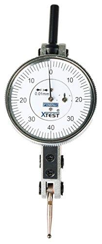 Fowler 52-562-008-0 Horizontal White Dial x-Test Indicator.01mm Graduation Interval, 1.5mm Measuring Range, 38mm Dial Diameter, Silver Dial Tungsten Steel Bezel