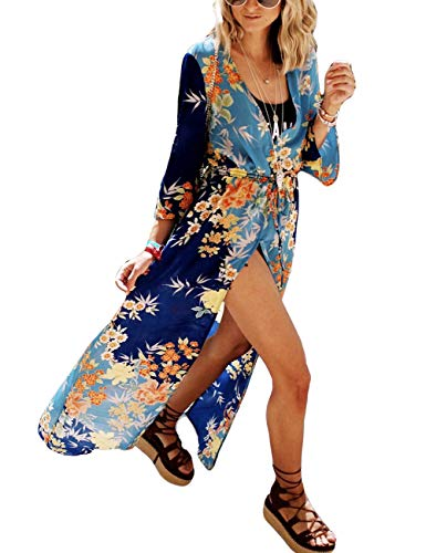 Bsubseach Boho Print Long Beach Cardigan Women 3/4 Sleeve Drawstring Waist Kimono Open Front Cover Up