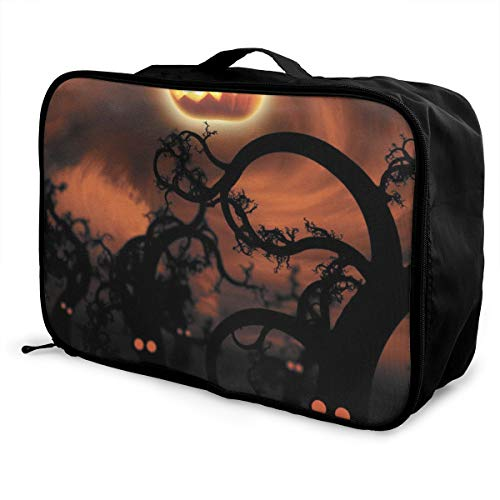 Halloween Pumpkin Travel Pouch Carry-on Duffle Bag Lightweight Waterproof Portable Luggage Bag Attach To Suitcase -