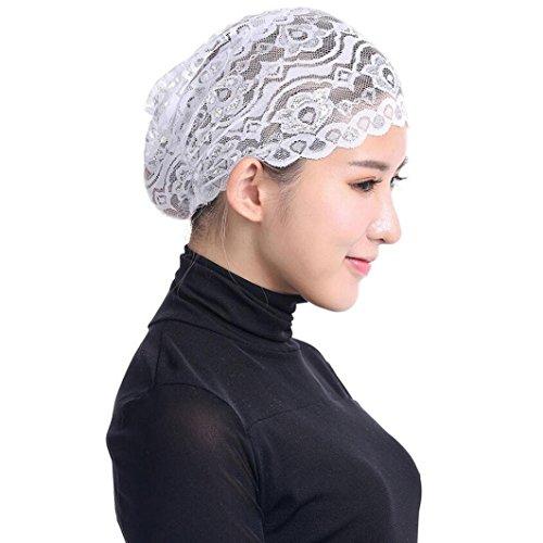 Qingfan Women Muslim Hijab Ruffle Cancer Chemo Elegant Lace Hat Beanie Scarf Turban Head Wrap Cap (White) (Design Bandana History)