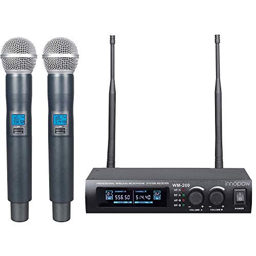 (innopow Metal Dual UHF Wireless Microphone System,inp Metal Cordless Mic Set, Long Distance 150-200Ft,16 Hours Continuous Use for Family Party,Church,Small Karaoke Night (WM-200-New) (WM200N))
