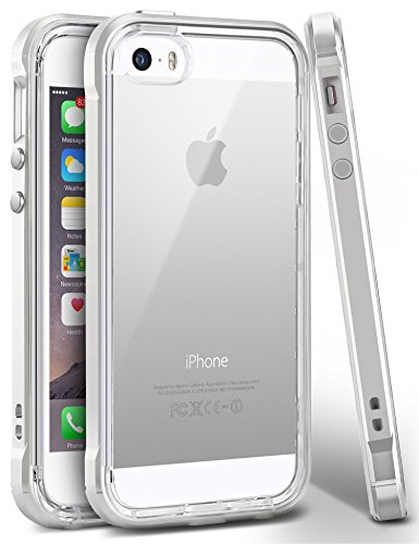 iPhone SE Case, Ansiwee Reinforced PC Frame Highly Durable Crystal Slim Shock-Absorption Flexible Soft Rubber TPU Bumper Hybrid Protective Case for Apple iPhone SE/iPhone 5s 5 (Pearl White)