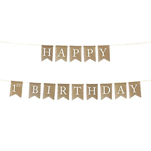Andaz Press Real Burlap Fabric Pennant Hanging Banner with, Happy 1st Birthday, Pre-Strung, No Assembly Required, 1-Set ()