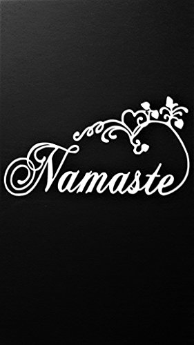 Namaste Yoga Meditation Zen Spiritual Vinyl Decal Sticker|WHITE|Cars Trucks SUV Laptops Boats Kayak Wall Art|6.5
