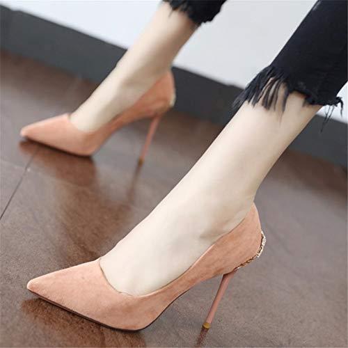tacchi scarpe donna lavoro 36 sposa bocca punta EU da rosa stiletto 35 singole pelle da scarpe europeo bassi EU temperamento YMFIE scarpe superficiale moda Stile scamosciata da OxpCHzH