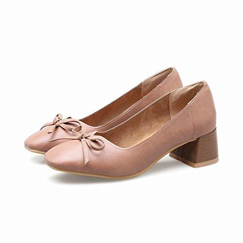 toe Women's Pink Pumps Square Dark Mid Heel Casual Latasa z18wTxWnqT