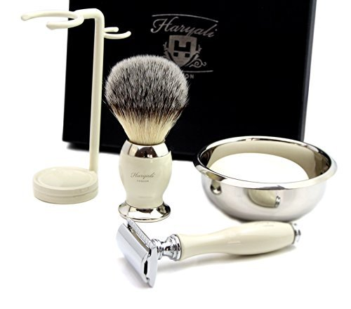 DE SAFETY RAZOR Men's Shaving Gift Set Ivory Shaving Brush shaving soap bowl kit ( NO BLADES INCLUDED ) by Haryali London