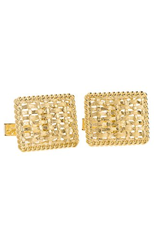 14K Yellow Gold Rectangle Basketweave Cufflinks-86712