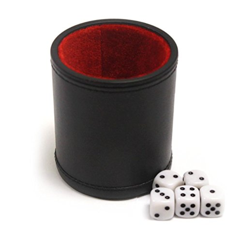 (Brybelly GDIC-303 Felt Lined Professional Dice Cup with 5 Dice)
