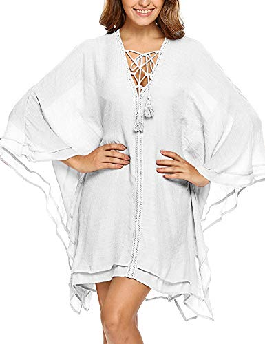 (Anatokys Chiffon Sheer Kimono Lace up Beach Swimsuit Cover up (X-Large, White))