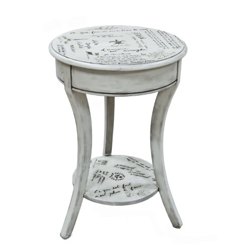 Carolina Chair and Table Vintage Cream Parisian Script Accent Table ()