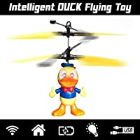 Wembley Toys Infrared Induction Cartoon Donald Duck Sensor Aircraft (Without Remote) USB Charger Flying Duck with Flashing Light Toys for Boys and Girls Kids - Donald Duck