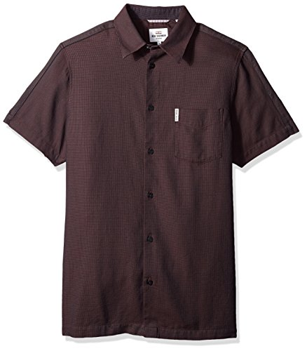 Ben Sherman Men's Short Sleeve Blocked Dobby Shirt, Rust, Large