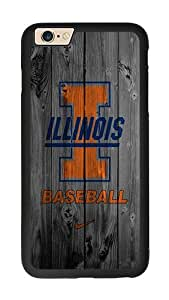 iPhone 6 Case, Wood Custom Illinois Baseball iPhone 6 Rugged TPU Case Black
