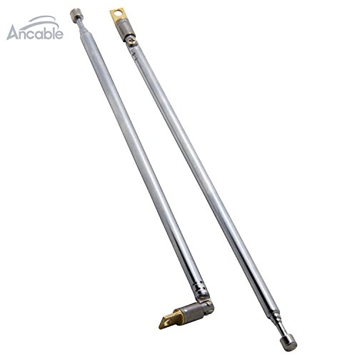 Ancable 2-Pack AM FM Radio Universal Antenna Replacement 62cm 24.4' Long 4 Sections Telescopic Antenna for Radio TV Ancable Electronic
