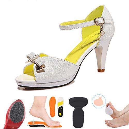 Femmes Imperméable 39 Pour Talons À Buckle White Chaussures Pointus Stiletto Femmes Fish Bow Plateforme Hauts Sexy pink Sandales Metal HI4Bxnqw4