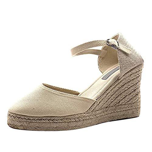 Weaving Video - Buckle Wedges Sandals for Women - Summer Weaving Espadrille Heel Platform Closed Toe Ankle Strap Sandals (Canvas White, 8.5 M US)